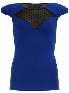 Kardashian blue mesh top