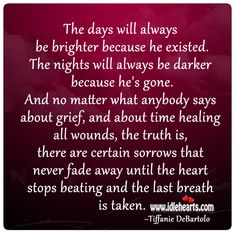 tiffanie debartolo quotes | the days will always be brighter because he existed the nights will ...