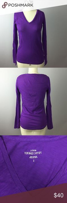 """J. Crew Vintage Cotton Long Sleeve Tee A great basic long sleeve v neck tee! 100% cotton. 16"""" armpit to armpit, 22"""" length. J. Crew Tops Tees - Long Sleeve"""