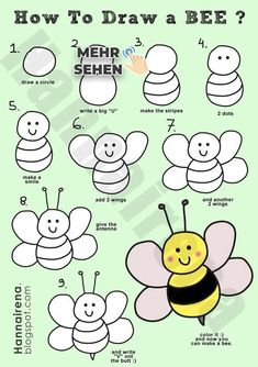 Bee drawing step by step how to draw bumblebee how to draw bugs how to draw . bee drawing step by step easy Flamingo Illustration, Simple Illustration, Bee Drawing Easy, Bugs Drawing, Easy Drawings, Simple Doodles Drawings, Flower Drawings, Drawing Sketches, Pencil Drawings