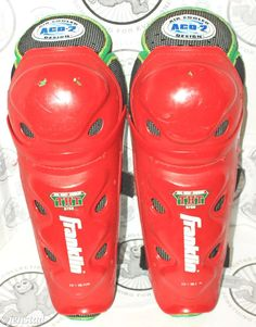 """FRANKLIN THT 6750 SHIN GUARD SENIOR 15"""" ADULT ICE OR ROLLER HOCKEY LEG PADS USED #FranklinSports"""