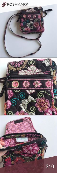 Vera Bradley Mini Crossbody 💜 Vera Bradley Mini Crossbody. Pre worn used condition. All zippers and Velcro still work great. Please see pictures for wear. Fabric is faded and worn. From a smoke free home. Vera Bradley Bags Crossbody Bags