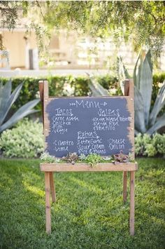 cute chalkboard easel menu via Style Me Pretty. fun for an adult or kids party!