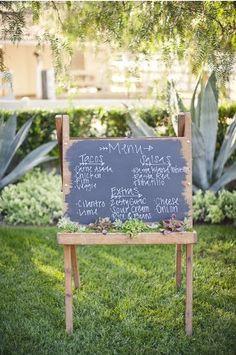 chalkboard easel menu #chalkboard #menu