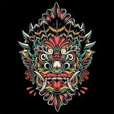 New tattoo traditional flash sketches design ideas Traditional Flash, Traditional Tattoo, Japanese Demon Tattoo, Tiki Tattoo, Indonesian Art, Barong, Asian Tattoos, Demon Art, Samurai Tattoo