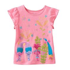 2bcedb3e DreamWorks Trolls Poppy, Smidge Satin & Chenile Toddler Girl Neon Flutter  Short Sleeve Graphic Tee