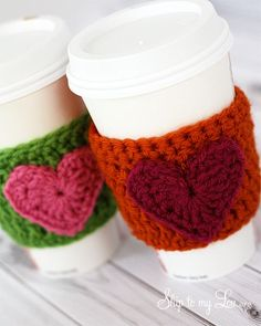 Make this easy crochet heart coffee cozy - a perfect handmade gift!