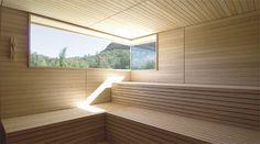 Sauna window (would want lower) & seating & wood styling Sauna House, Sauna Room, Steam Sauna, Steam Bath, Steam Room, Modern Saunas, Outdoor Sauna, Finnish Sauna, Modern Farmhouse Interiors