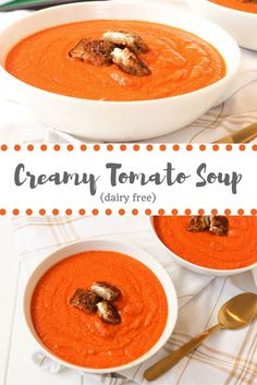 Creamy Tomato Soup via RDelicious Kitchen @RD_kitchen #soup #dairyfree #healthy #vegan #glutenfree #tomatosoup #comfortfood