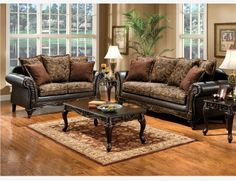 Traditional Floral Brown Fabric Leather Sofa Loveseat Pillows Living