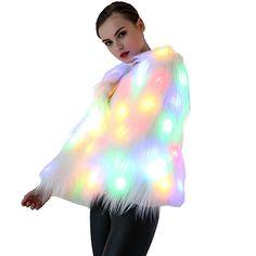 Caracilia Women Solid LED Light Up Rave Faux Fur Jacket Shaggy Tag M 37/LED US 0-2 White 3