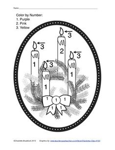 Free color by number Advent Candles and Wreath. This worksheet is helpful for explaining the meaning of the 4 candles and colors. It is also good practice for the color words pink and purple that young students need to practice. This worksheet is in a pdf format.