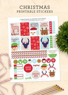 These FREE printable planner stickers for Christmas are so cute! These stickers fit the Happy Planner and similar sized planners. via @diy_candy