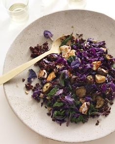Build a better stir-fry: Use antioxidant-rich black rice, purple kale, Japanese eggplant, red cabbage, and tofu, Wholeliving.com #meatless #vegetarian