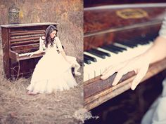 love this vintage piano shoot. and her dress. @Bridget Durand - thought of you when I saw this :)