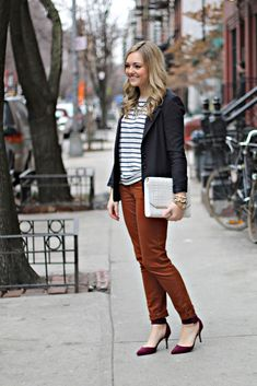 Casual Work Outfit - Blazer, Tee, Chinos, Pumps