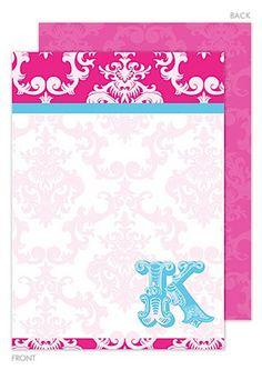 Personalized Pink Damask Posh Flat Note Cards
