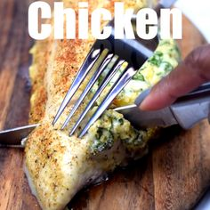 Easy, Low-Carb Keto Spinach Cream Cheese Stuffed Chicken is a quick and healthy dinner recipe loaded with boneless, skinless chicken breasts, cheddar, and mozzarella. You can use fresh or frozen spinach. This dish has only 1 net carb per serving making it Comida Diy, Comida Keto, Healthy Dinner Recipes, Low Carb Recipes, Diet Recipes, Crockpot Recipes, Easy Healthy Chicken Recipes, Easy Stuffed Chicken Recipes, Cream Cheese Recipes Dinner