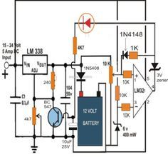 6v, 12v, 24v battery charger circuit with automatic cut off and shut off using LM338 IC