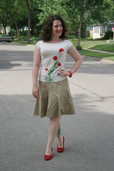 khaki with red: Match vs. Go (love her blog & leg tattoos)