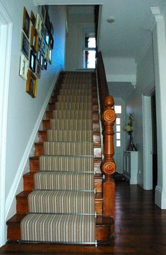 Striped carpet stair runner with stairrods | Highdown Carpets