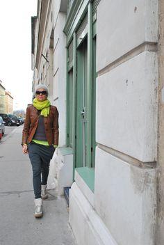 neon leather baggy pants