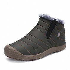 a14d254011cffe IceUnicorn Herren Damen Winterschuhe Outdoor Schneestiefel Slip on Komfort  Boots Stiefel Winter Knöchelhoch(Grau
