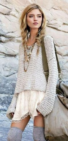 Booties, over the knee grey socks, lace tan or cream dress with grey sweater over it. Add necklaces for charm.