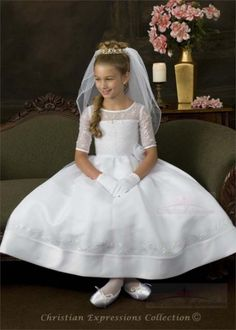 Communion Dresses-Christian Expressions First Communion Dresses 5085 in Clothing, Shoes & Accessories, Kids' Clothing, Shoes & Accs, Girls' Clothing (Sizes 4 & Up) First Communion Veils, Girls Communion Dresses, First Communion Party, First Holy Communion, Girls Dresses, Flower Girl Dresses, Baptism Dress, Dress First, The Dress