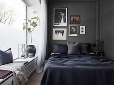 Dark blue bedroom, Scandinavian style and decor, bedroom ideas, gallery wall, linen, fig tree, sculpture, dark walls, blue crush