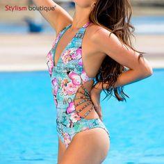 2a8998b1a1 2017 New Butterfly Printed Swimwear Women Sexy One Piece Swimsuit Halter  Bandage Monokini Bandage Bathing Suit