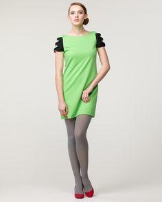 HAN AHN SOON グリーン  ポンチ袖リボン付きワンピース