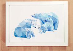 Polar bear family Bear wall art Mother and child by tinykiwiPrints