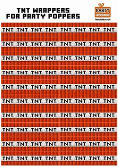 Free Printable Tnt Labels & Tnt Printable Label - Minecraft, Pubg, Lol and Minecraft Diy, Minecraft Templates, Minecraft Printable, Minecraft Skins, Minecraft Birthday Party, Birthday Fun, Birthday Ideas, Printable Labels, Party Printables