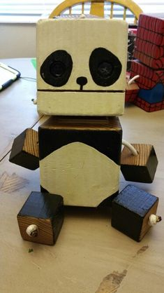 Panda - wood toy, natural wood, wood robot, DIY toy #woodtoy