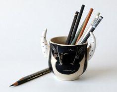 Poterie pot à crayons / accessoires de bureau / bureau décor unique idée de cadeau / cadeau pour homme / Organisation de bureau