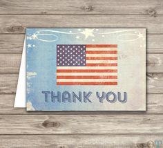 American Flag Boy Birthday Thank You Cards