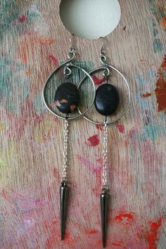 Black Agate Stone Earrings