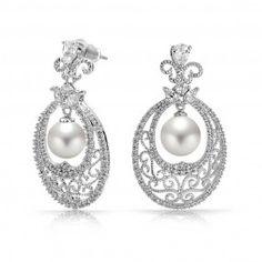 Bling Jewelry Filigree Vine CZ Pearl Bridal Chandelier Earrings