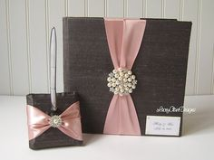 Wedding Guest Book and Pen Set  Custom Made by LaceyClaireDesigns,