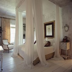 Curtains, high ceilings, flowy, bedroom