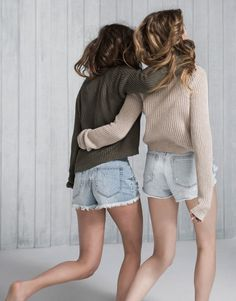 Pull&Bear - pacific girls - new products - long sleeve short sweater - khaki - 05559302-V2016
