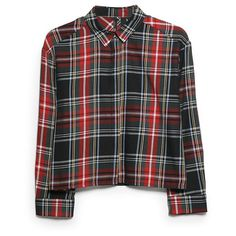 Plaid Cropped Shirt (85 SAR) ❤ liked on Polyvore featuring tops, shirts, blouses, plaid, long black shirt, crop top, long sleeve tops, long tops and shirts & tops