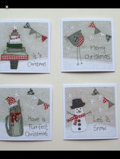 Sewing christmas cards 56 ideas for 2019 Christmas Applique, 3d Christmas, Christmas Sewing, Christmas Makes, Christmas Projects, Handmade Christmas, Fabric Cards, Fabric Postcards, Free Motion Embroidery