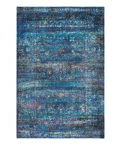 Look what I found on #zulily! Blue Antiqued Glamour Rug #zulilyfinds
