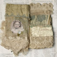 Mixed Media Fabric Collage Book of Little French Babes   eBay