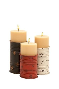 So simple and fun. Painted tin can candle holders.