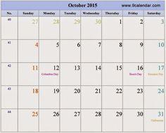 october 2015 calendar word