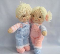 Pattern is written in ENGLISH. Other languages NOT available. INSTANT DOWNLOAD - PDF download button is on your Purchases and reviews page (to find this click on You top right of page). JACK and JILL Knitting pattern contains instructions for these cute little JACK and JILL dolls. Their clothes cannot be removed. SIZE: Jack and Jill - 23cm (9in) NEEDLES: knitted on two straight 3.25 mm needles (US 3) YARN: DK (double knitting) yarn. (USA - light-worsted/Australia - 8 ply). SKILLS REQUIRE...