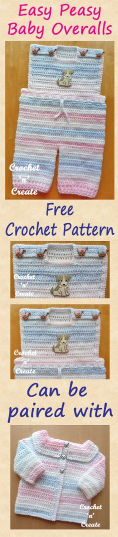 Free baby crochet pattern for easy peasy baby overalls to match easy peasy baby cardigan. #crochet